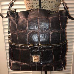 Dooney & Bourke Croc Leather Double Zip Hobo
